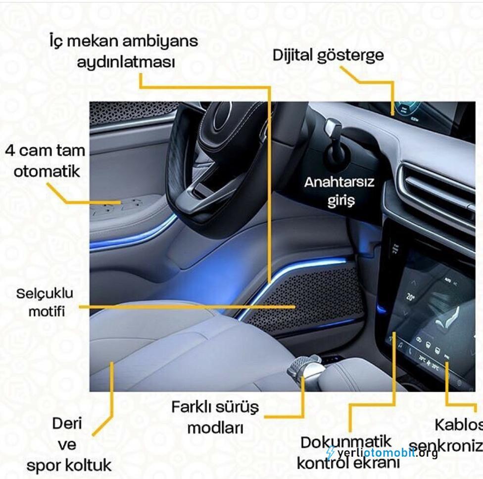 Yerli otomobilin iç dizaynı