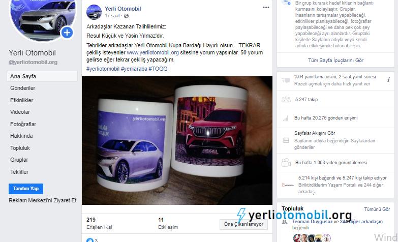 Yerli otomobil facebook sayfası