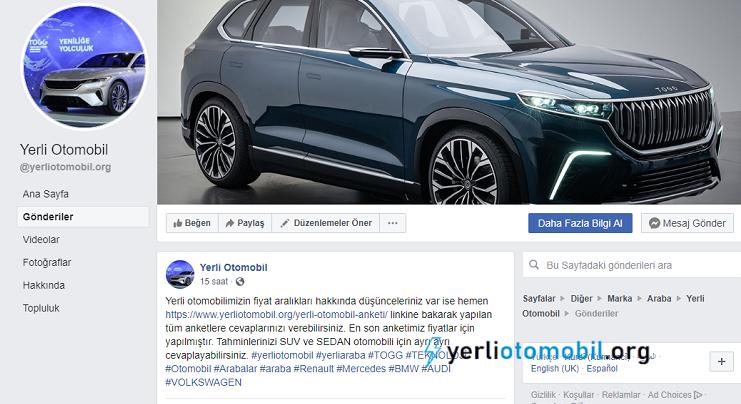 Photo of Yerli otomobil facebook sayfası