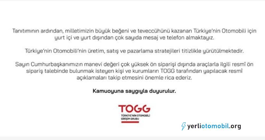 TOGG'dan ön sipariş açıklaması
