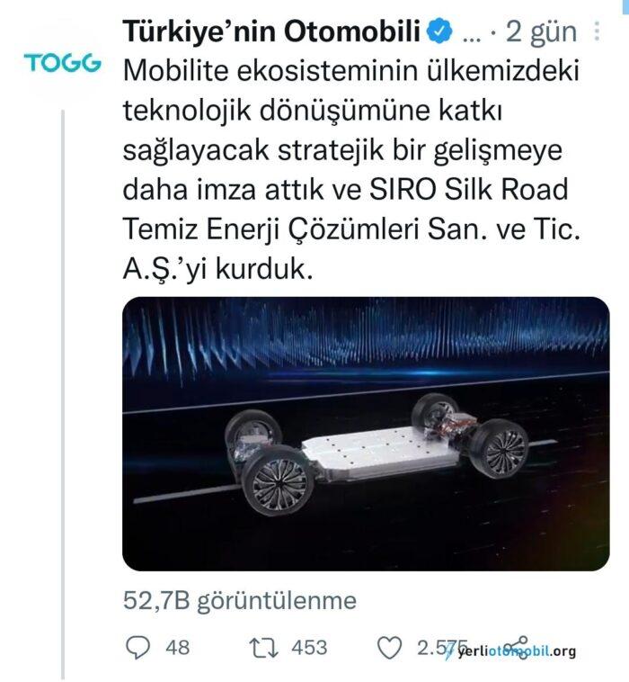 TOGG Batarya Üretecek Şirketi SIRO'yu Kurdu!